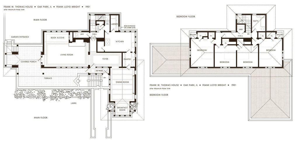 The Floor Plan Of The Frank Thomas House By Frank Lloyd Wright 1901 1927 910 Artporn Usonian House Frank Lloyd Wright Homes Studio Floor Plans