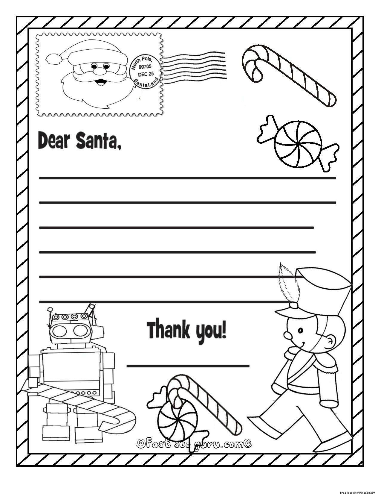 Santa Christmas List Coloring Page Santa Coloring Pages Christmas Lettering Dear Santa Letter