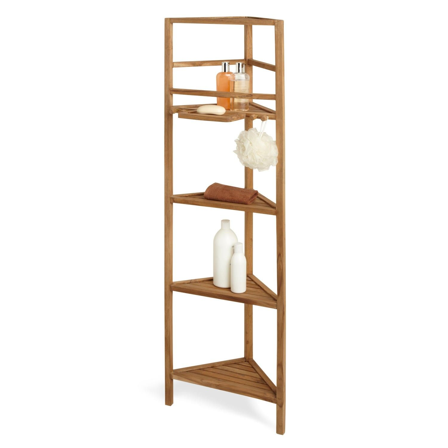 "59"" Teak Corner Bathroom Shelf"