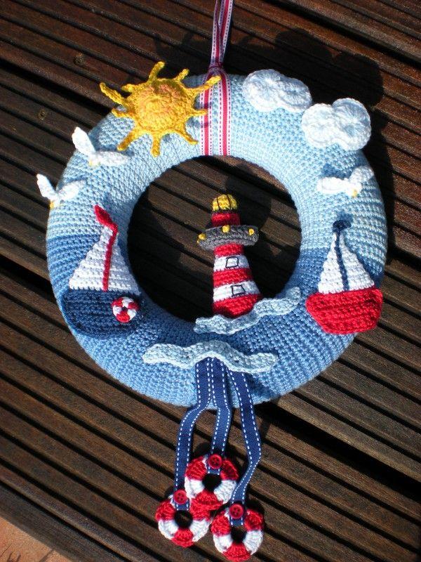 Photo of Crochet door wreath // door decoration – sea motif DIY