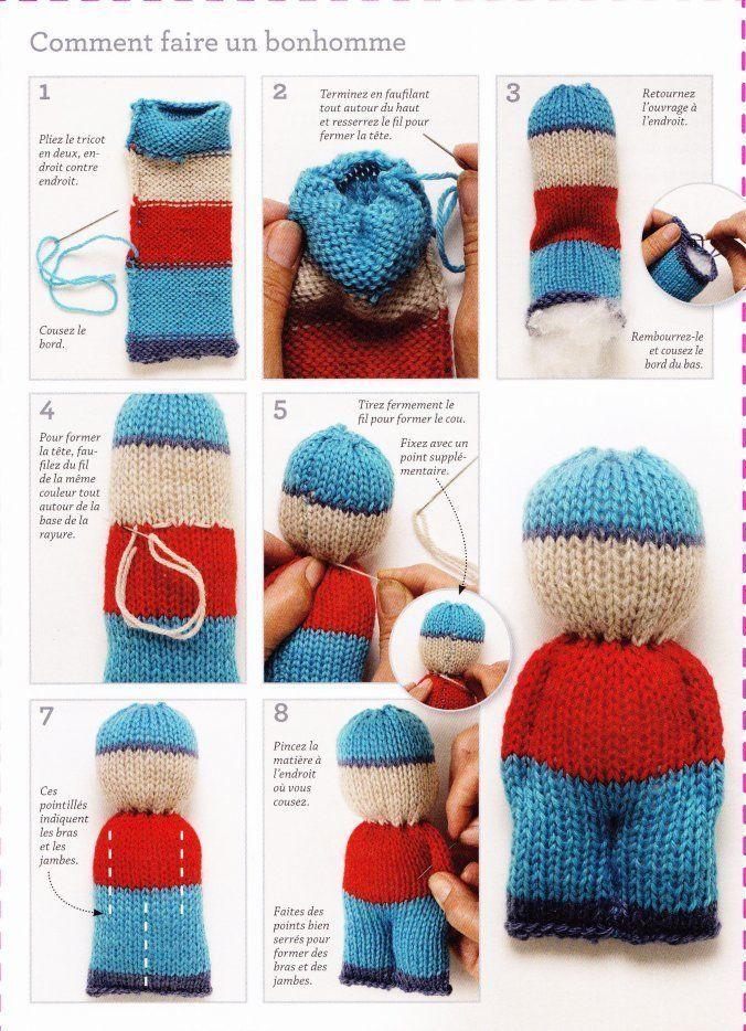 Bonhommes sympas tricotés d'une seule pièce #knitteddollpatterns
