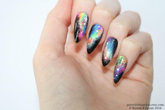 Galaxy Stiletto Nails Nail Art Acrylic