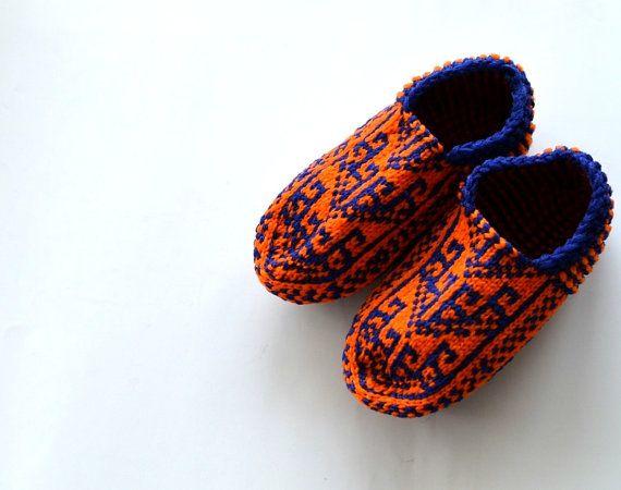 04d0586e6eced Blue orange hand knit Socks, Turkish women slippers, home shoes ...