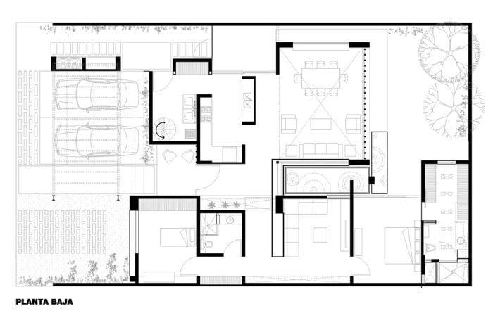T02 plano planta baja casa1 pinterest planta baja for Arquitectura de casas modernas de una planta