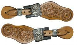 Showman Youth Floral Tooled Spur Straps