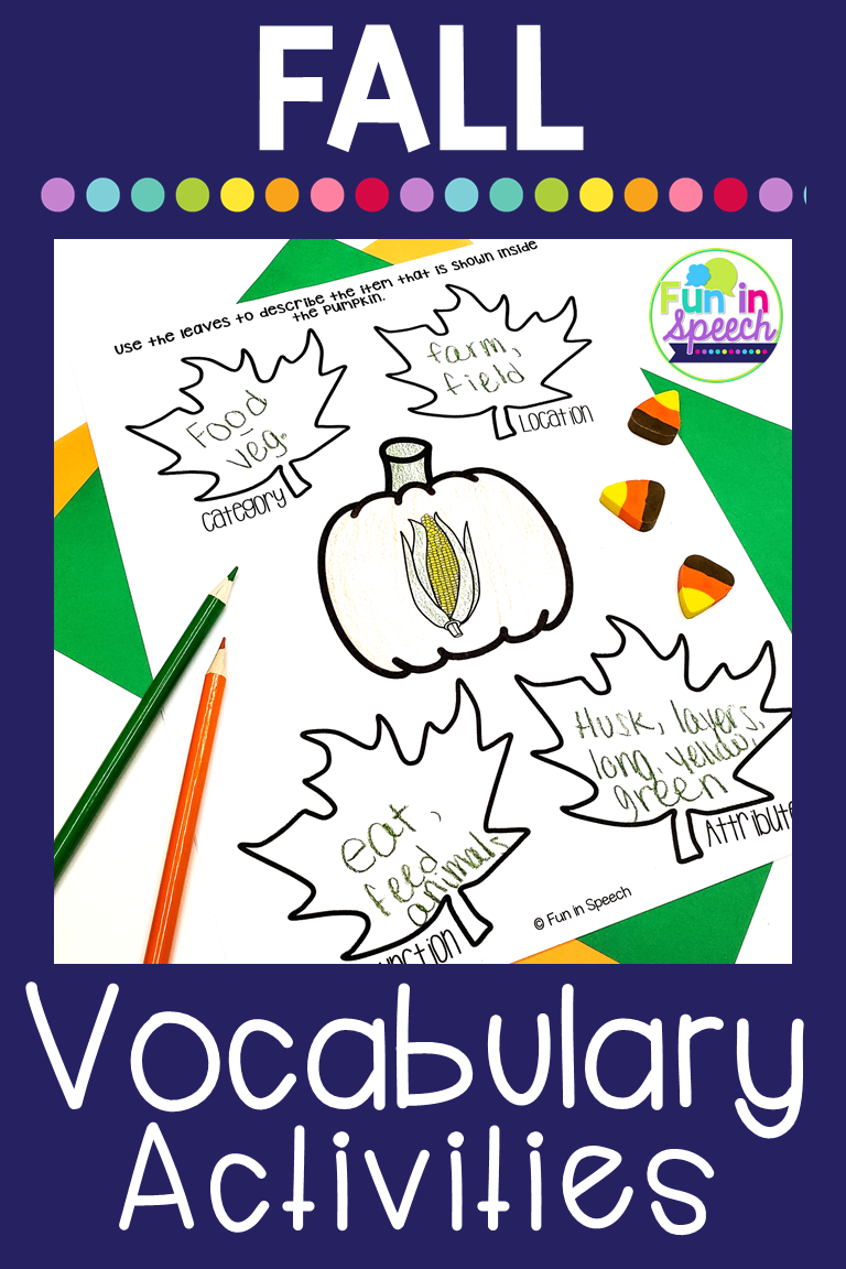 Your Students Will Love These Fall Themed Vocabulary Worksheets For Speech Therapy This Product Uses Fall Vocabulary Vocabulary Worksheets Speech And Language [ 1152 x 768 Pixel ]