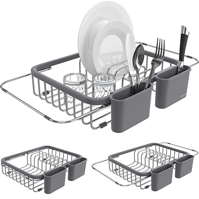 Amazon Com Shanik Expandable Draining Dish Rack Over Sink Dish