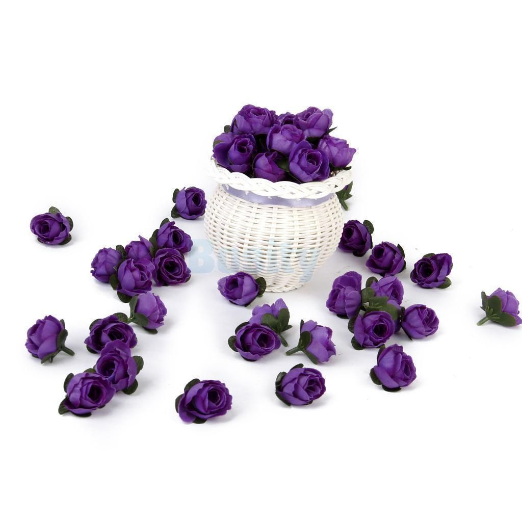 50x Artificial Silk Rose Flower Heads Wedding Party Decor Bridal
