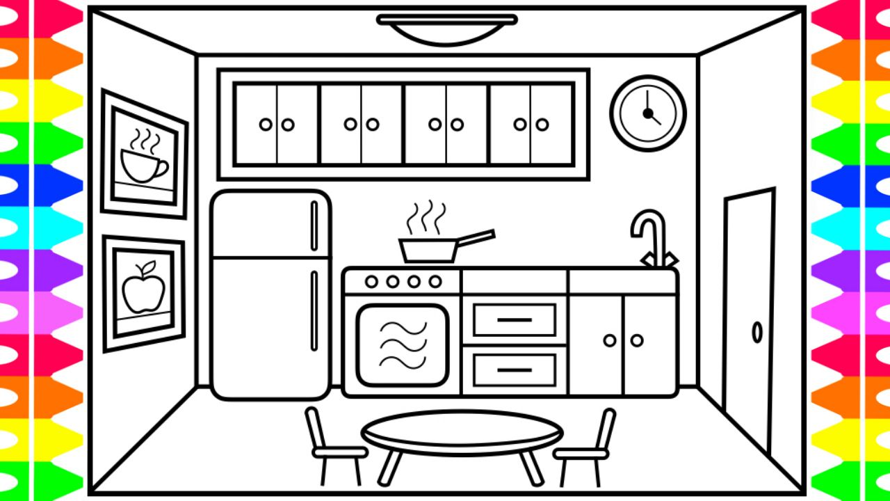 How to Draw a Kitchen Easy for Kids 💜💚💛🍽 Kitchen Drawing How To Draw A Kitchen on draw floor plan kitchen, cartoon kitchen, easy simple drawings kitchen, draw your kitchen, draw my own kitchen, drawing black and white kitchen,