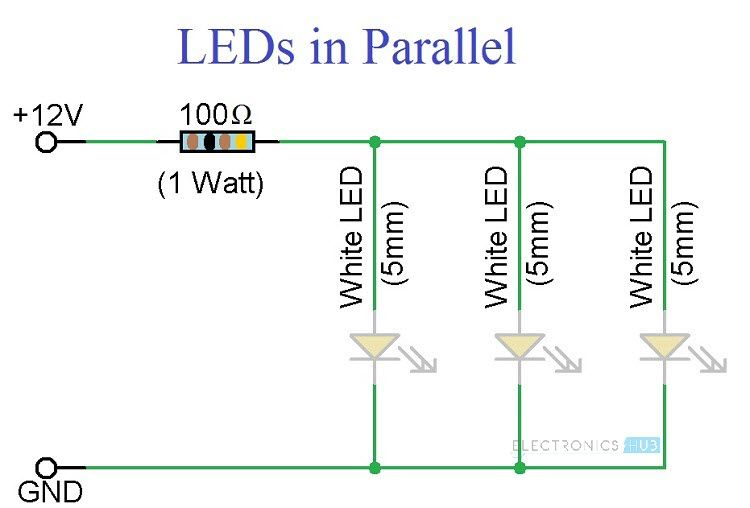 Simple Led Circuits Single Led Series Leds And Parallel Leds In 2020 Led Circuit Electrical Circuit Diagram