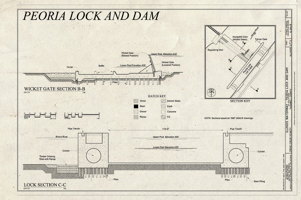 <p>Illinois Waterway, Peoria Lock and Dam, 1071 Wesley Road, Creve Coeur, Tazewell County, IL</p>