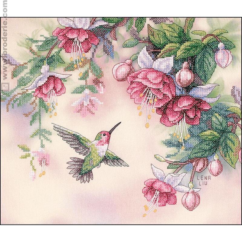 Kit points divers colibri et fuchsias dimensions couture broderie point de croix et la - La maison de la broderie ...
