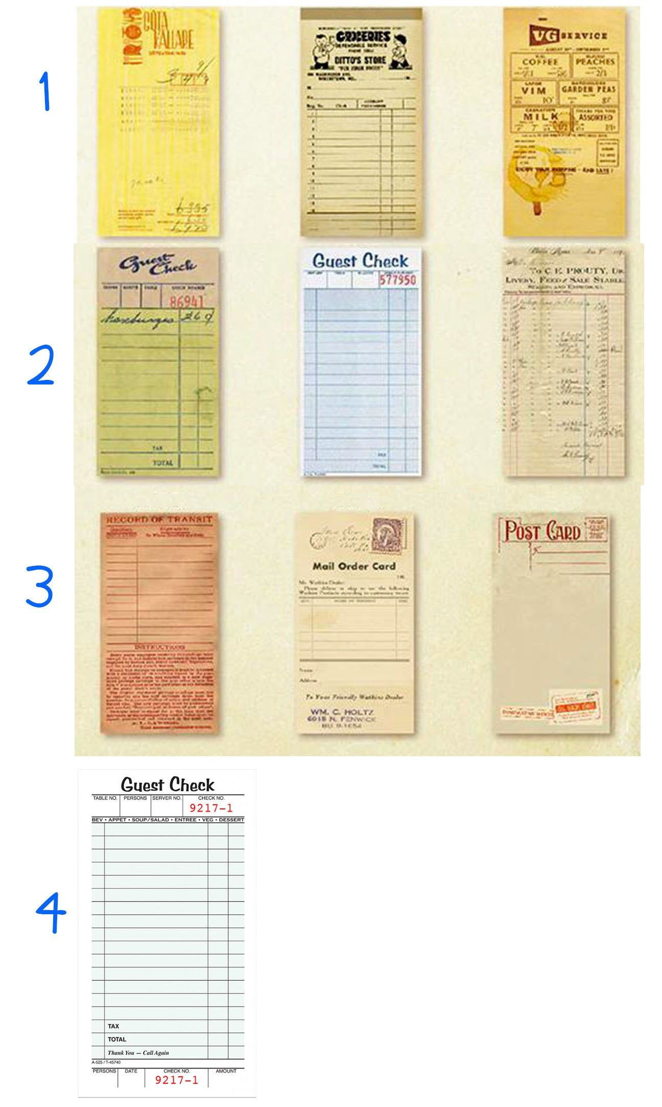 Guest Check Sheets Vintage Forms Pad Shopping Lists Embellishment Supply Paper Notes Scrapbooking Mixed Medi Note Paper Mixed Media Projects Junk Journal