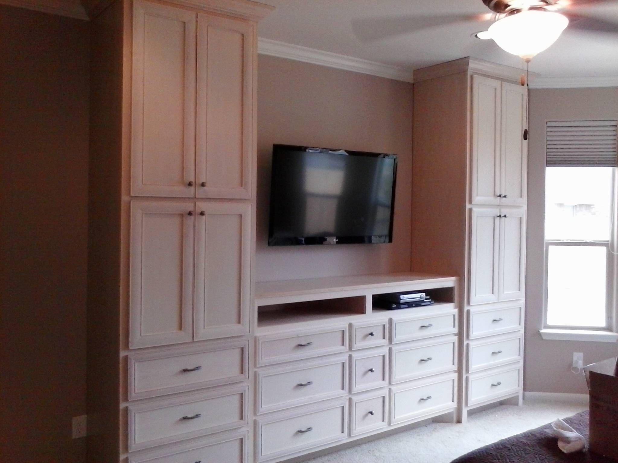 Breathtaking White Teak Wood Polished Bedroom Wall Units With