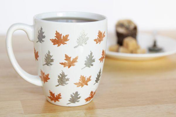 Stenciled Leaf Mug DIY | Hands Occupied