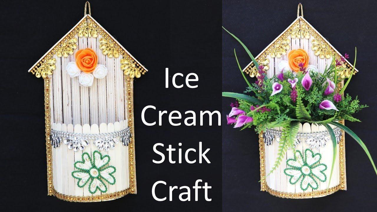 Ice Cream Stick Wall Hanging Flower Vase Making Idea Popsicle Stick C Craft Stick Crafts Ice Cream Stick Popsicle Stick Crafts