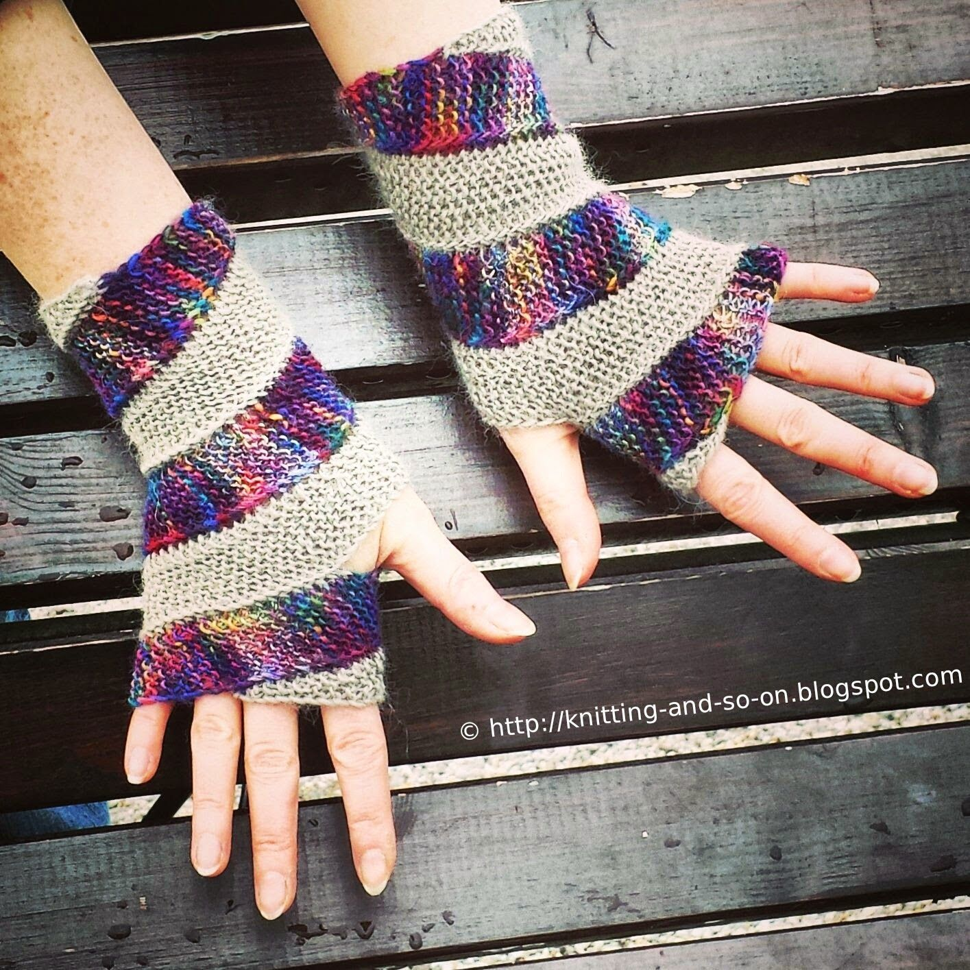 These fingerless gloves are knitted in two strips that wind up your ...