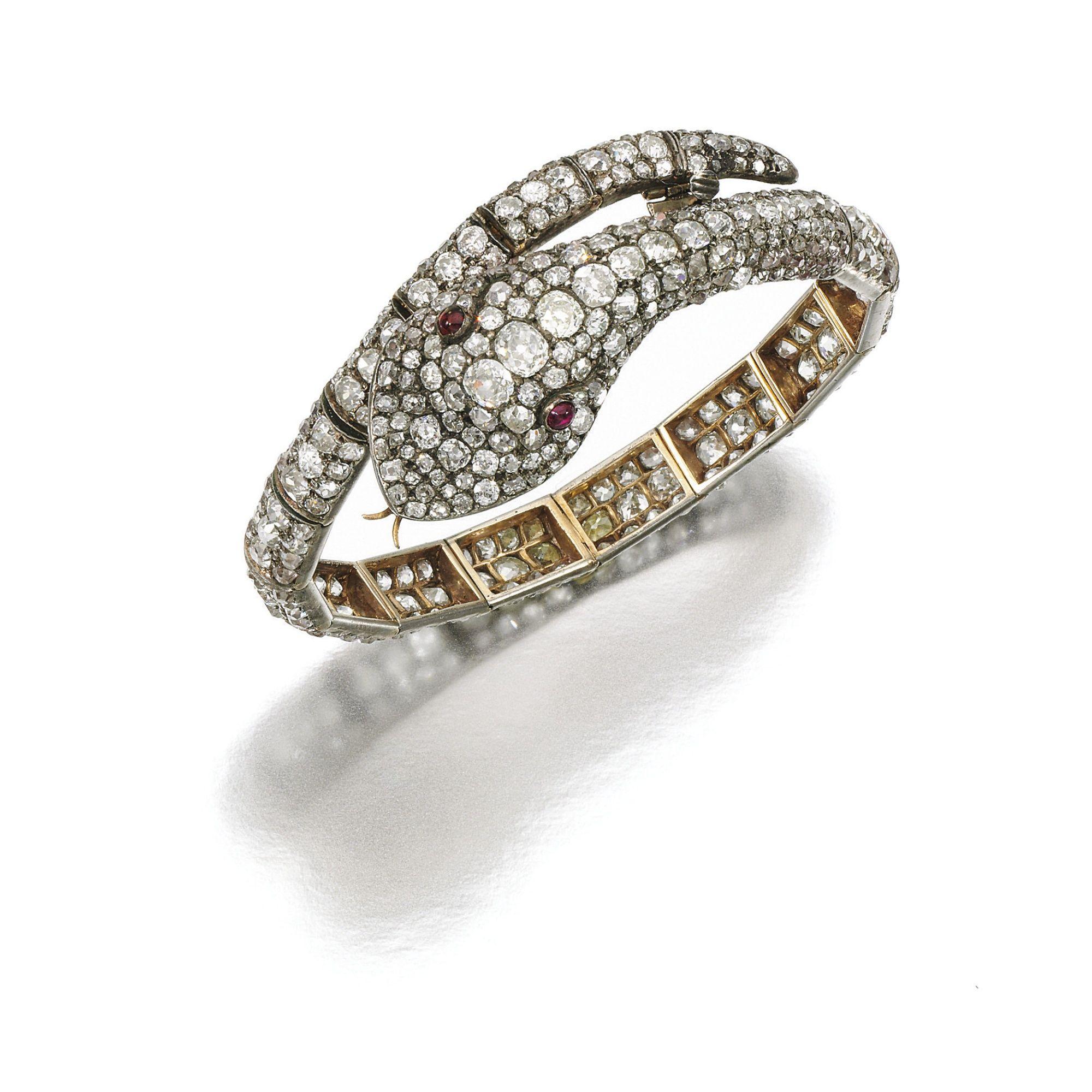 Ruby and diamond bracelet late th century designed as a snake