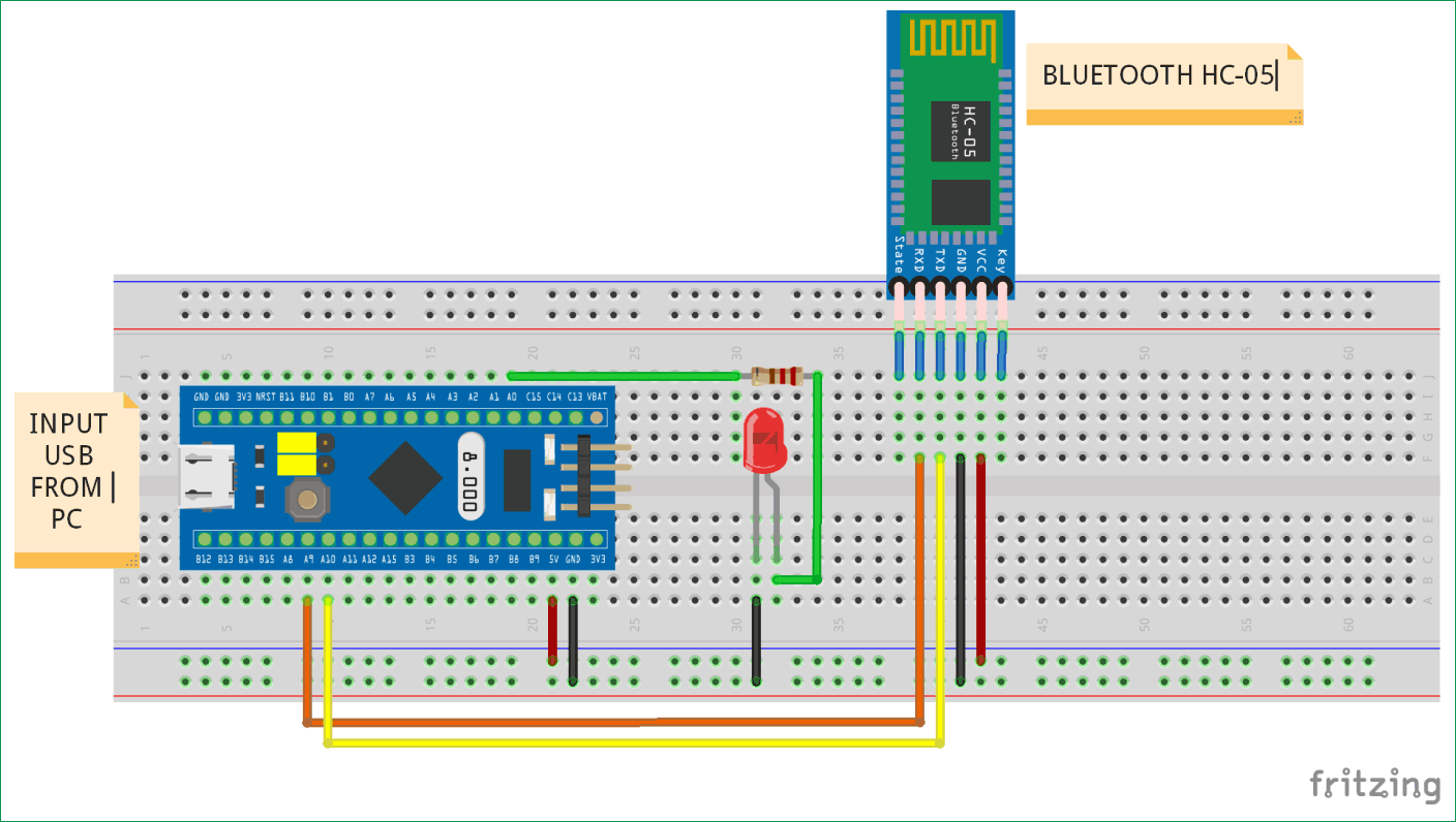 Circuit Diagram for Interfacing Bluetooth HC-05 with STM32F103C8
