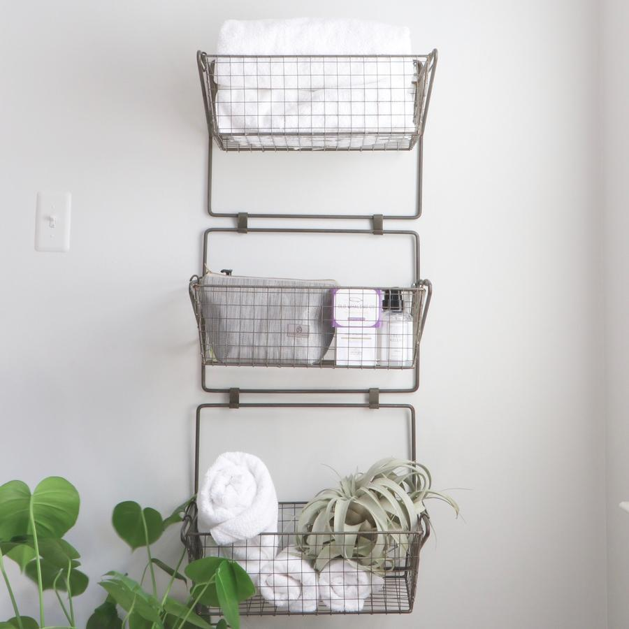 Three Tier Wire Basket Wall Hanging Organizer Baskets On Wall Hanging Organizer Wire Baskets