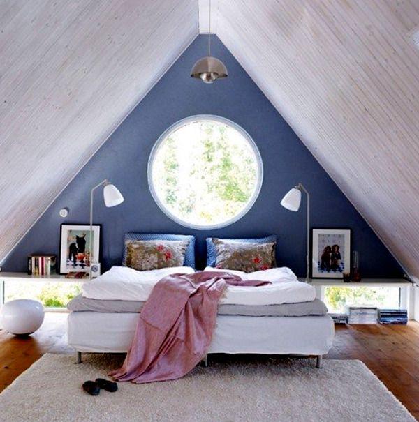 Sloped roof room design for Slanted roof bedroom ideas
