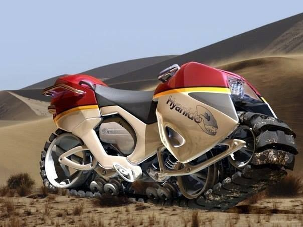 The concept of a snowmobile Hyanide, created by German designer, joined all kinds of vehicles. Thanks to this it can be tracked bike ride on dirt, snow, sand, and any relief