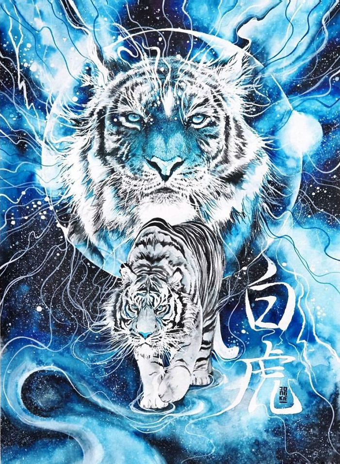 I Create Animal Spirits Through Watercolor Big Cats Art Tiger Spirit Animal Tiger Artwork