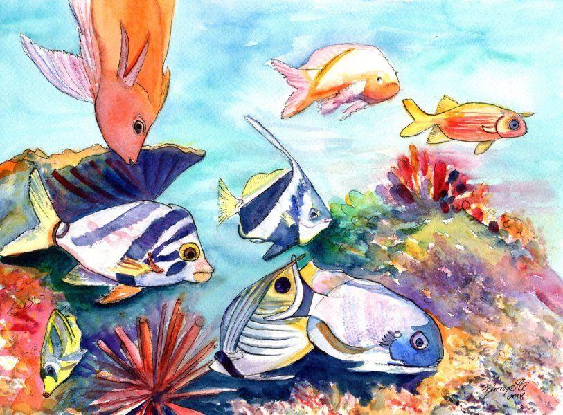 Hawaiian Tropical Fish Watercolor Painting Hawaii Fish Art Etsy