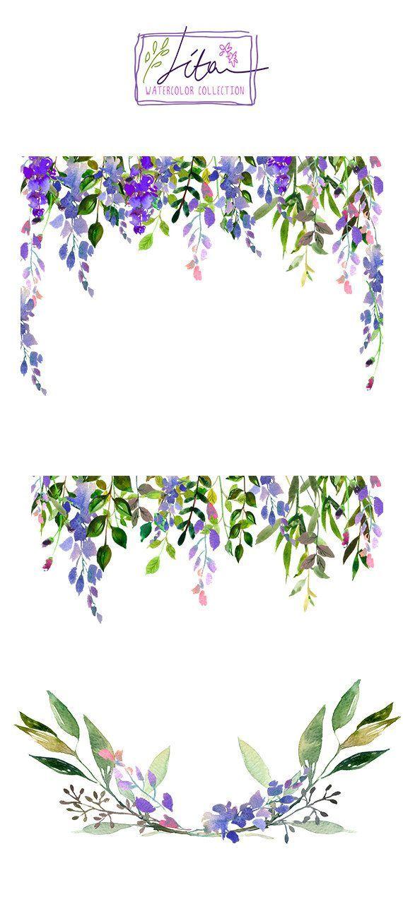 Purple Watercolor Flowers Clipart Set Wedding Floral Bouquets | Etsy