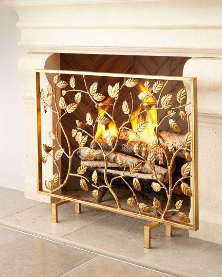Bird Branch Firescreen Fireplace Screens Fireplace Accessories