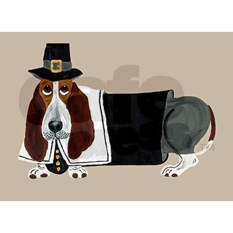 Basset Hound Thanksgiving Pilgrim Greeting Card on CafePress.com