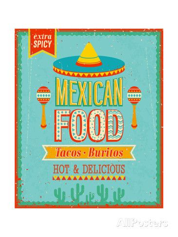 Vintage Mexican Food Poster | Food posters, Mexicans and Food