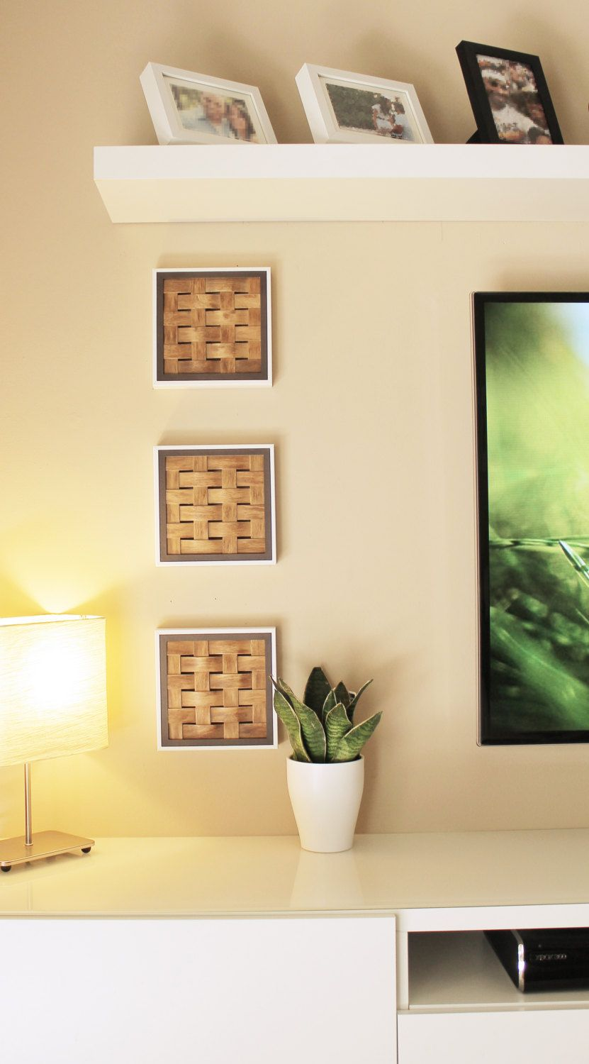 3 Set of White Matted Frames, Light Stained Woven Basswood with a ...