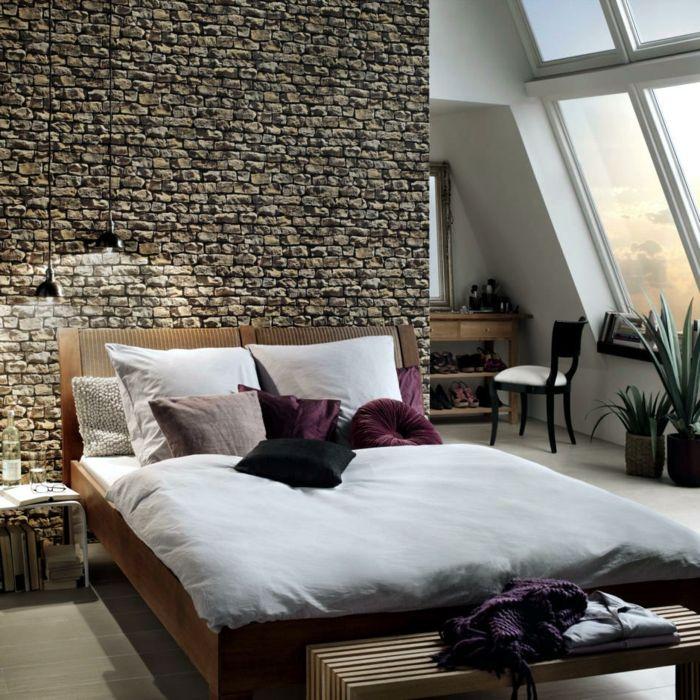 tapeten ideen schlafzimmer wände gestalten steinoptik wandtapete ...