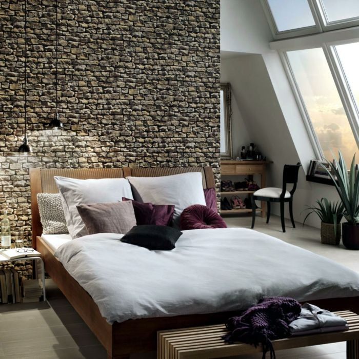 Tapeten schlafzimmer gestalten  tapeten ideen schlafzimmer wände gestalten steinoptik wandtapete ...