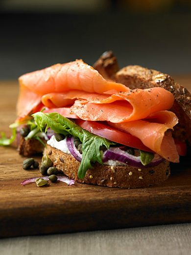 what's for breakfast? salmon, cream cheese, red onion, capers on toast.