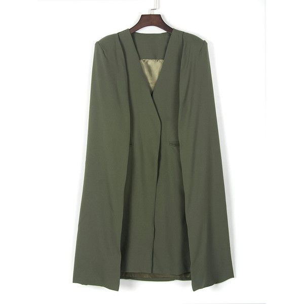 Choies Army Green Lapel Cape Back Long Coat ($68) ❤ liked on Polyvore featuring outerwear, coats, green, cape coat, olive green cape, green coat, green military coat and green cape
