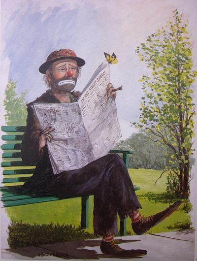 Harold Hancock BUTTERFLY Poster MINT Vintage EMMETT KELLY Sad Clown ART PRINT W