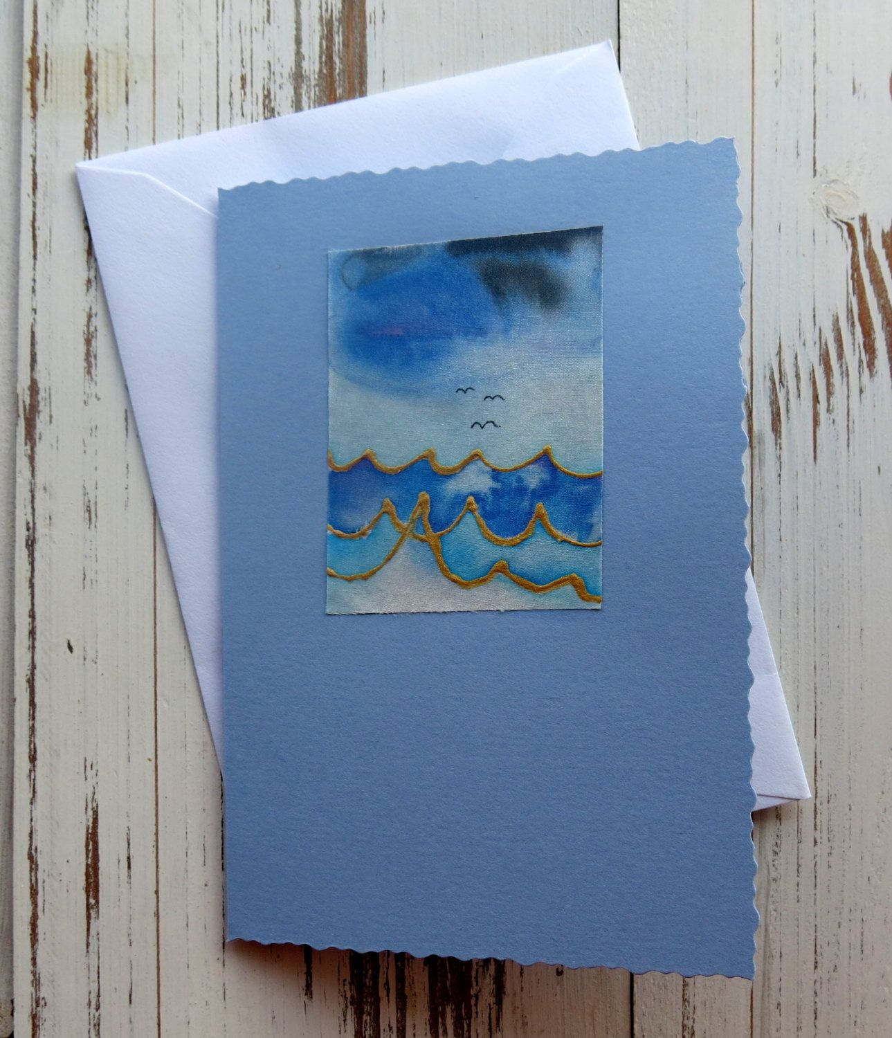 Handmade Card Birthday Card Silk Painted Card Seascape