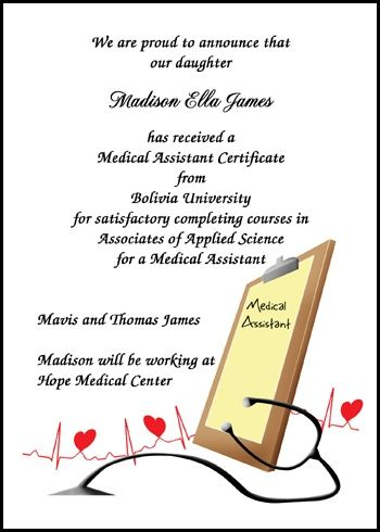 preview your personalized EMS graduation announcements for medical - medical assistant certificate