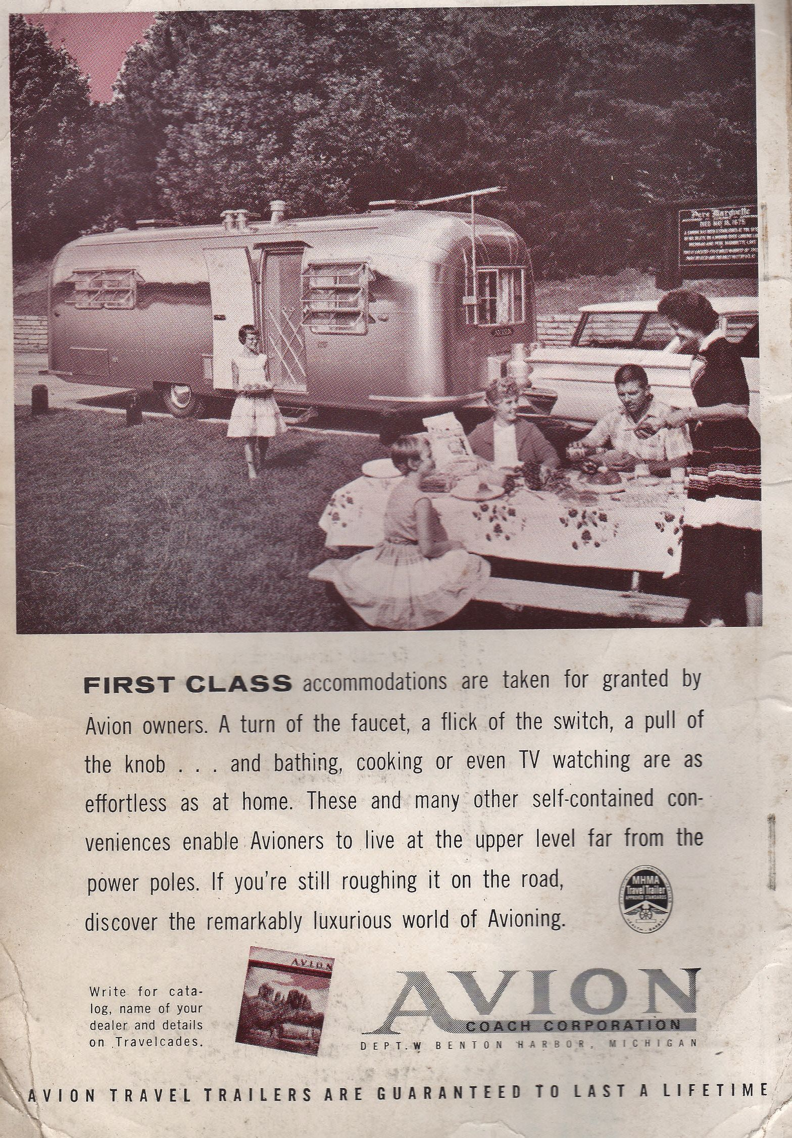 A vintage Avion ad from my 1962 Travel Trailer Park guide.  www.GlampingForum.com