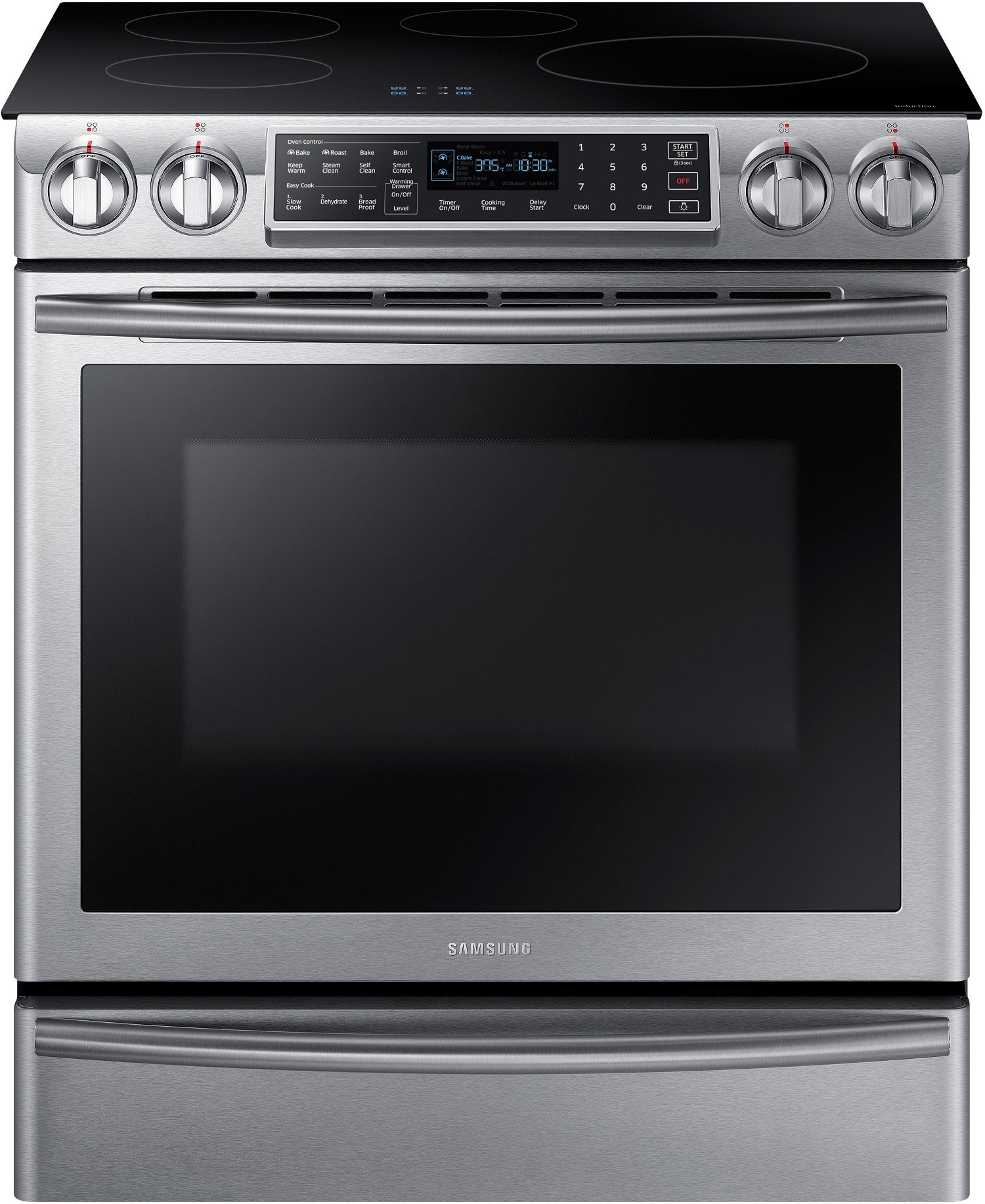 Samsung Ne58k9560ws 30 Inch Induction Slide In Range With 5 8 Cu Ft Dual Fan Convection Oven Virtual Flame Technology Wifi Connectivity Delay Start Steam Induction Range Convection Range Induction