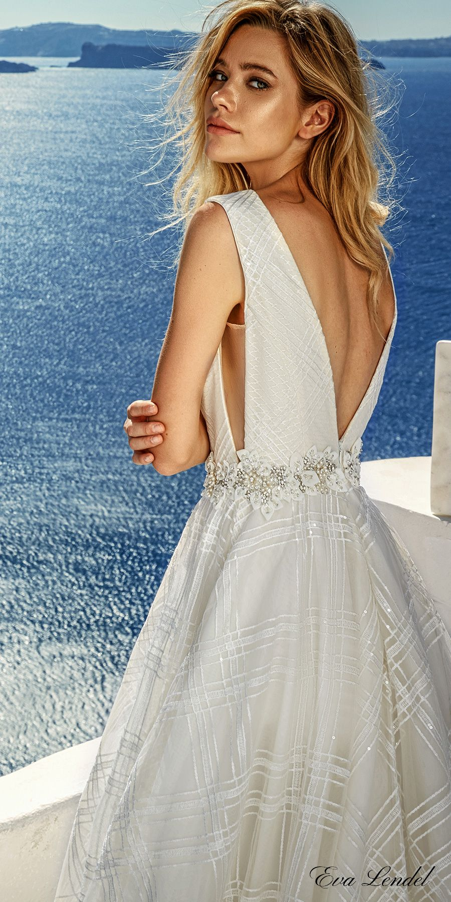 Eva Lendel 2017 Bridal Sleeveless Deep V Neck Open Side Full Embellishment Y Elegant A Line Wedding Dress Low Back Chapel Train Brooke Zbv