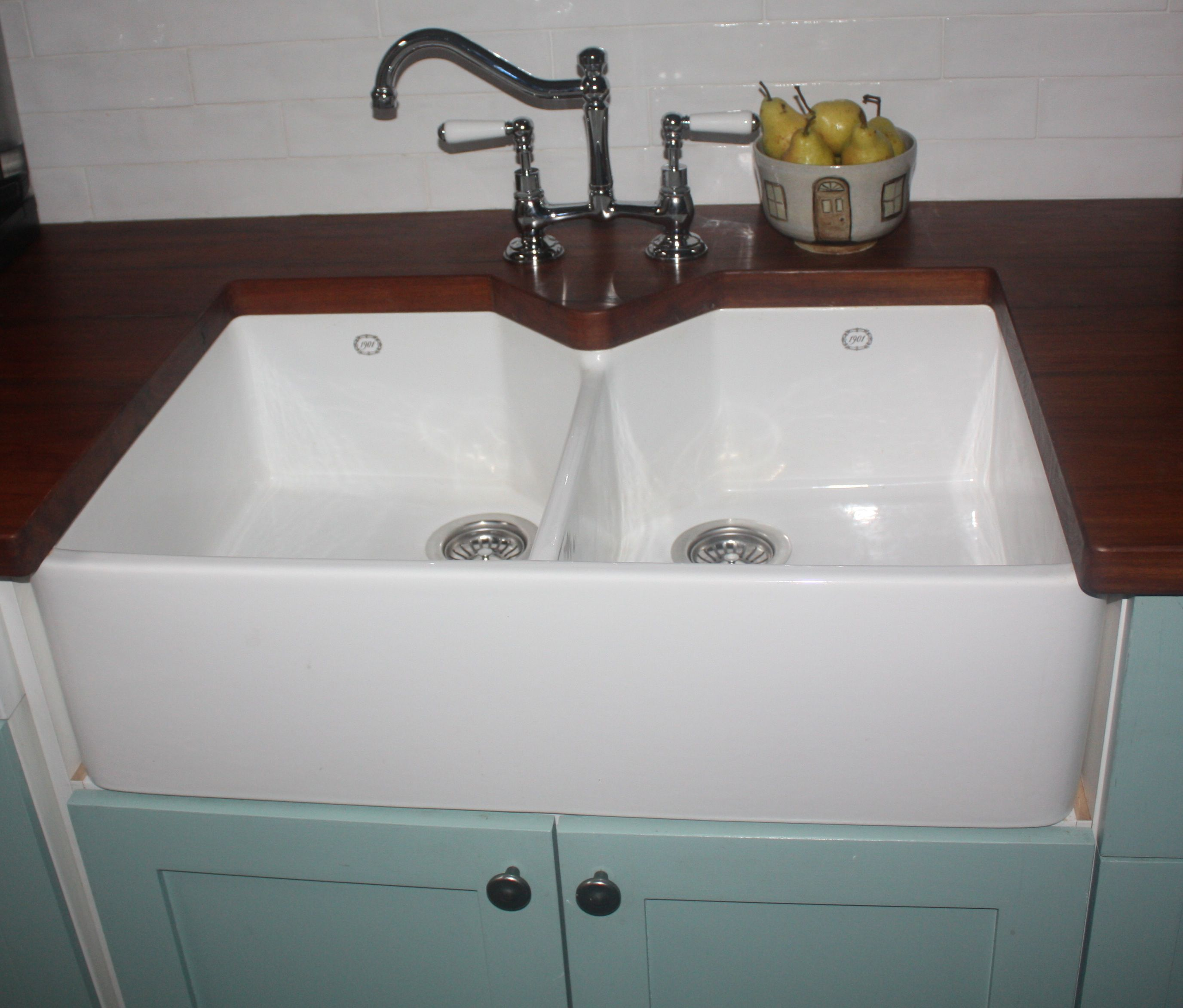double butler sink with wooden bench top