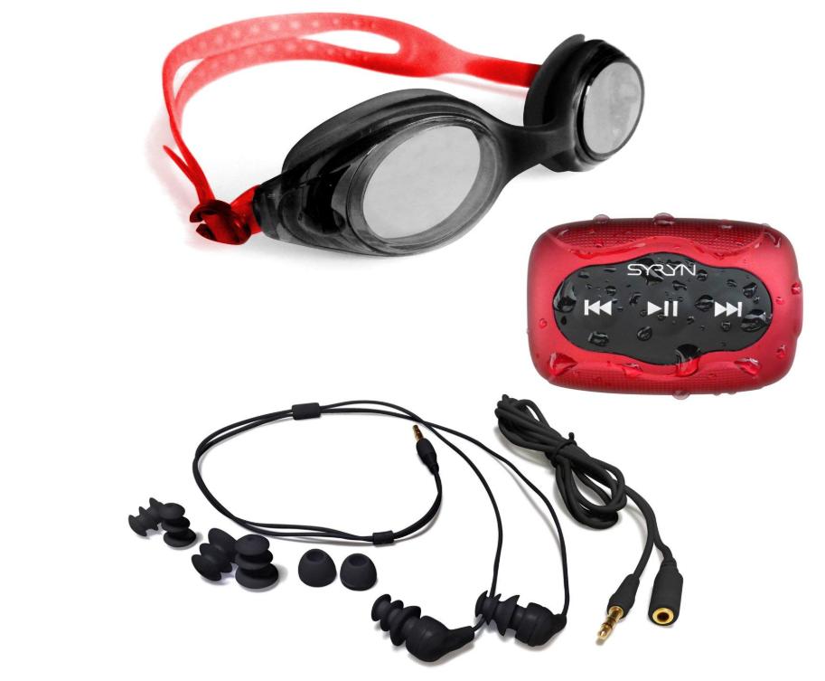Swimbuds Headphones and 8 GB SYRYN waterproof MP3 player