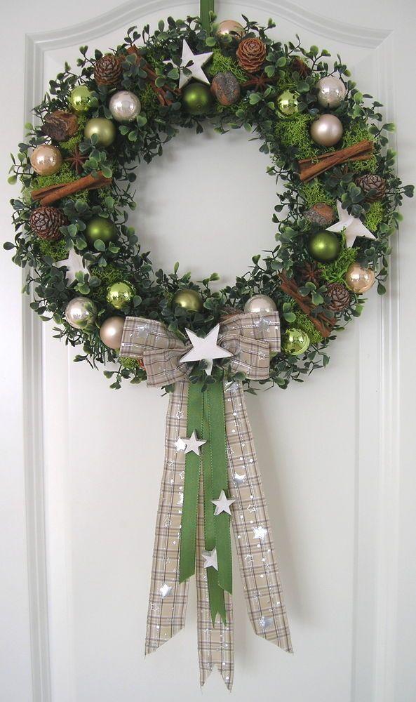 Außergewöhnlich Weihnachtskranz Stern 36cm Wandkranz Türkranz Weihnachten Kranz Kugeln  Christmas | EBay