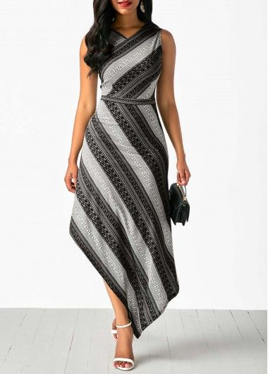 bd912765ac V Neck Sleeveless Printed Asymmetric Hem Dress Sleeveless V Neck ...