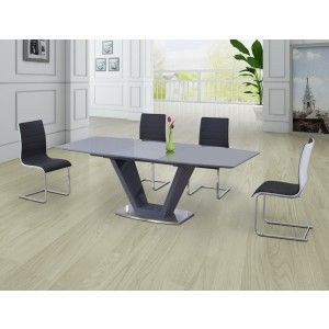 Lorgato Grey High Gloss Extending Dining Table  160Cm To 220Cm Best High Gloss Dining Room Furniture Review