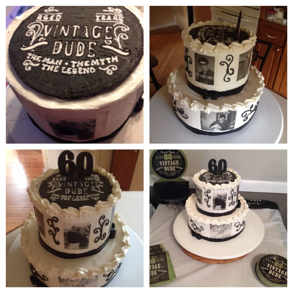 """""""Vintage Dude"""" Themed Birthday Cake. Stacked Vanilla And"""
