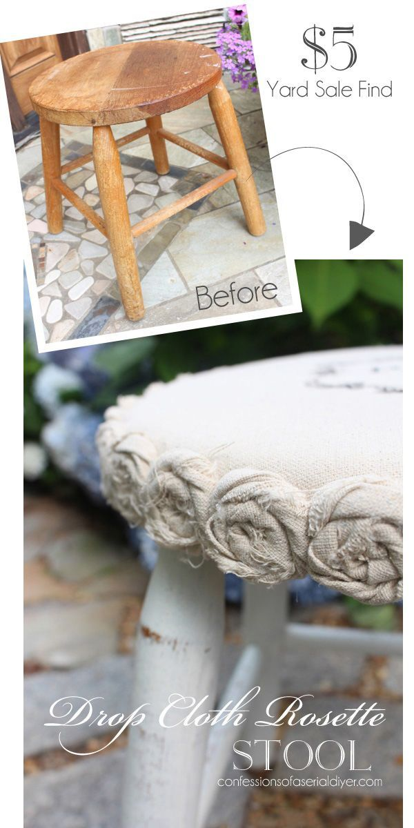Ideas : Make over a plain wooden stool with a little dropcloth! Confessions of a Serial Do-it-Yourselfer